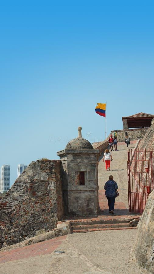 La actividad dentro de Castillo San Felipe de Barajas es una fortaleza en la ciudad de Cartagena fotos de archivo libres de regalías