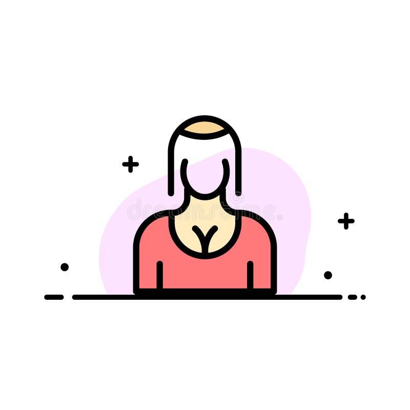 La actriz, Avatar, carácter, muchacha, señora Business Flat Line llenó la plantilla de la bandera del vector del icono stock de ilustración