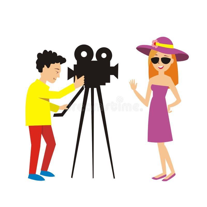 La actriz presenta para el hombre de la cámara en programa de la TV Ilustración del vector ilustración del vector