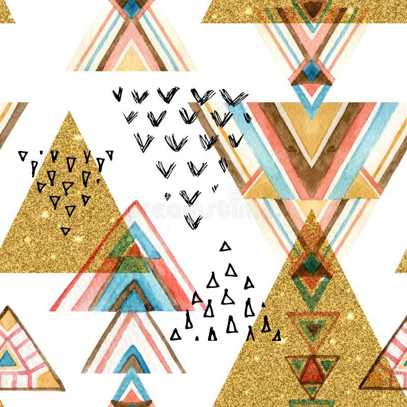 La acuarela abstracta y el brillo texturizaron el modelo inconsútil étnico ilustración del vector