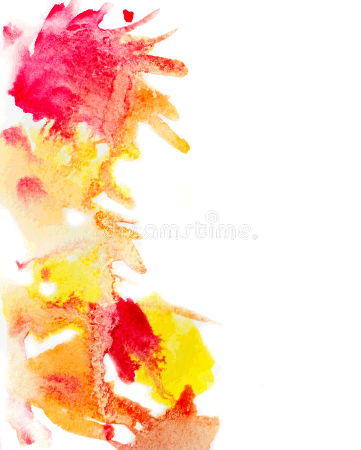 La acuarela amarilla y roja mancha el fondo stock de ilustración