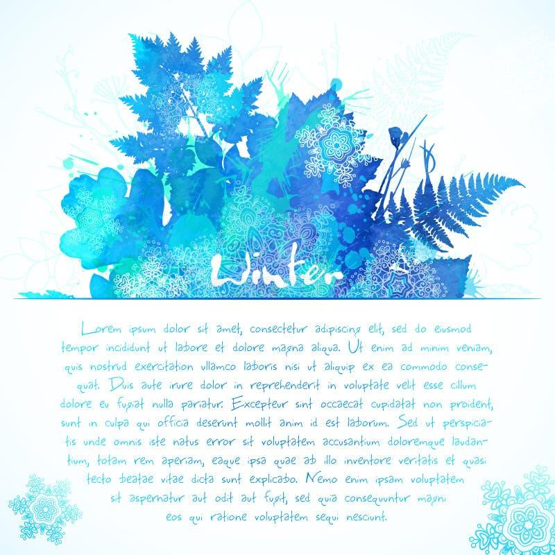 Download La Acuarela Azul Pintada Invierno Sale Del Saludo Ilustración del Vector - Ilustración de cubo, extracto: 44852875
