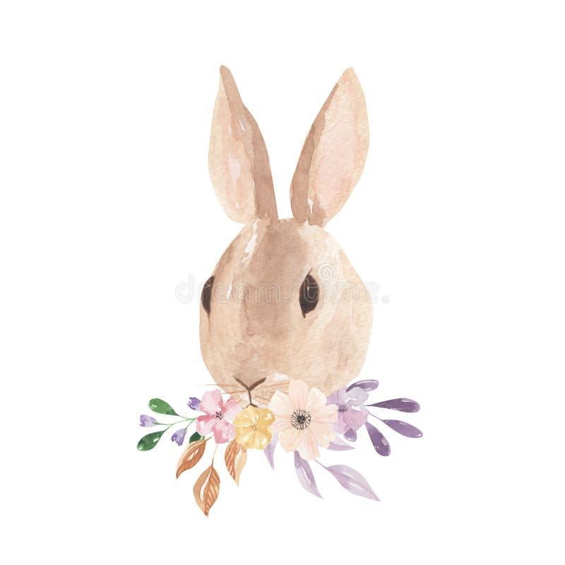 La acuarela Bunny Pastel Florals Leaves Pink de Pascua empluma floral ilustración del vector