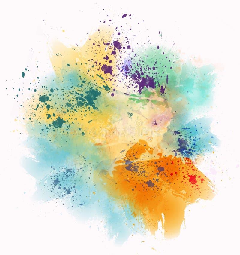 La acuarela colorida mancha y salpica ilustración del vector