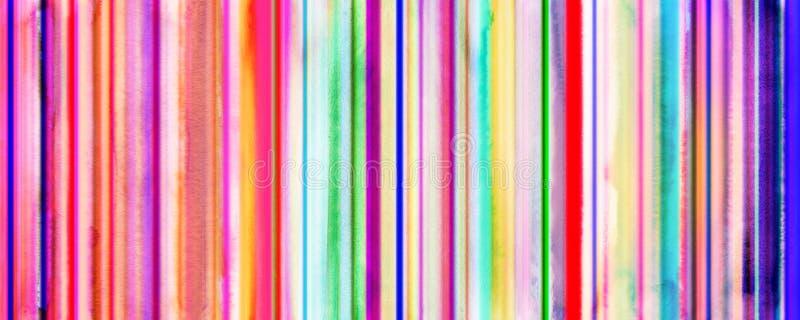 La acuarela colorida raya la bandera con las líneas rectas añadidas palmadita ilustración del vector