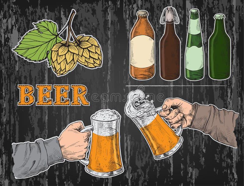 La acuarela da sostenerse con los vidrios de cerveza asalta, los saltos, botella stock de ilustración