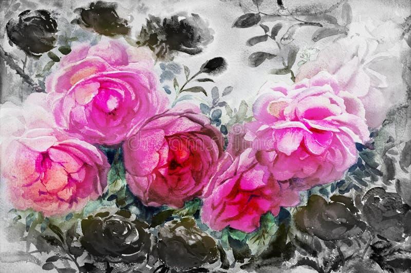 La acuarela de la pintura florece el color negro rosado del paisaje de rosas stock de ilustración