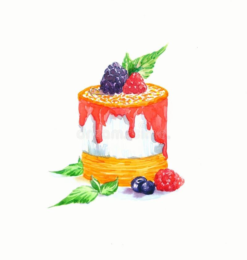 La acuarela de la torta del postre de la forma redonda de la torta stock de ilustración