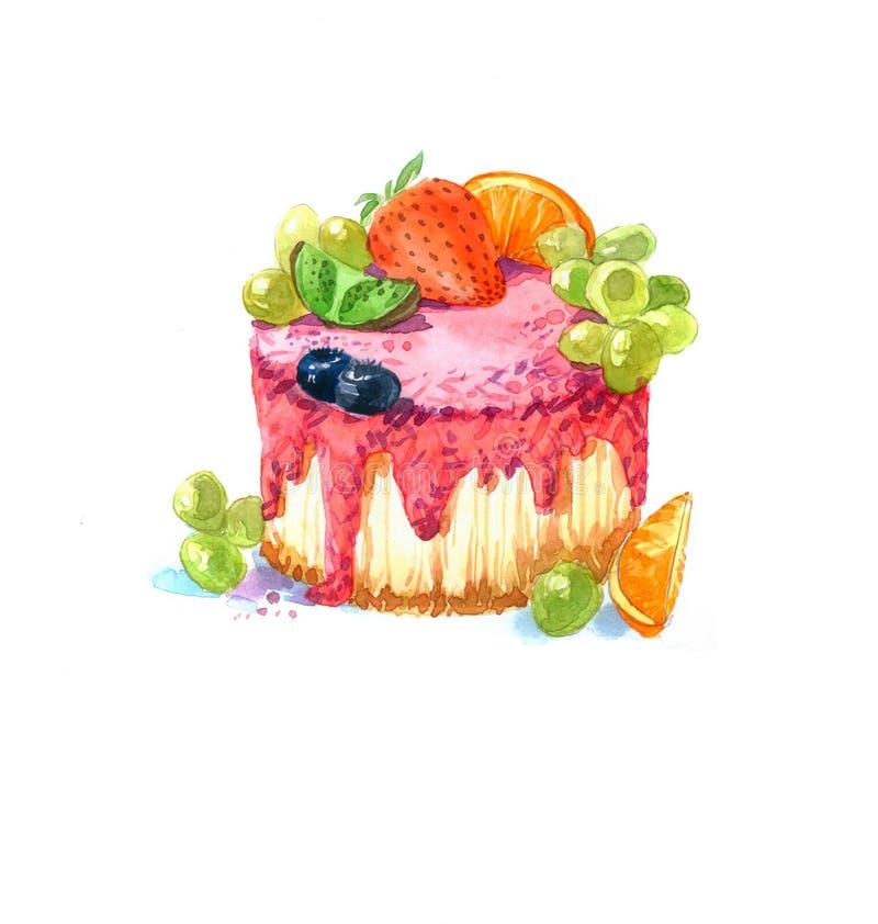La acuarela de la torta del postre de la forma redonda de la torta libre illustration