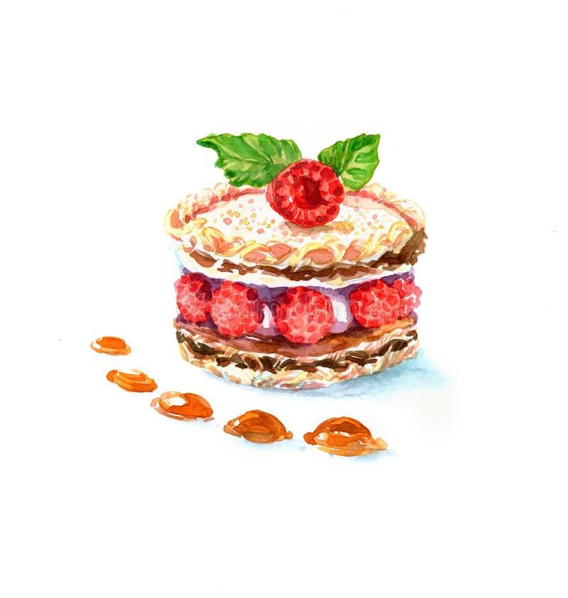 La acuarela de la torta del postre de la forma redonda de la torta imagen de archivo libre de regalías