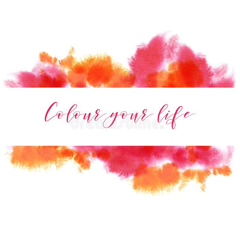 La acuarela de neón anaranjada roja, rosada, magenta y brillante estalló el bacground de las manchas Mano dibujada en el papel mo imagen de archivo libre de regalías