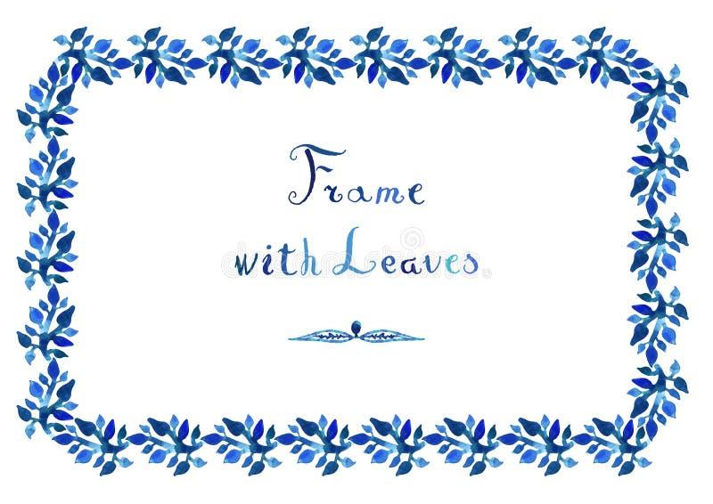 La acuarela deja a vector el marco azul con el texto cursivo manuscrito stock de ilustración