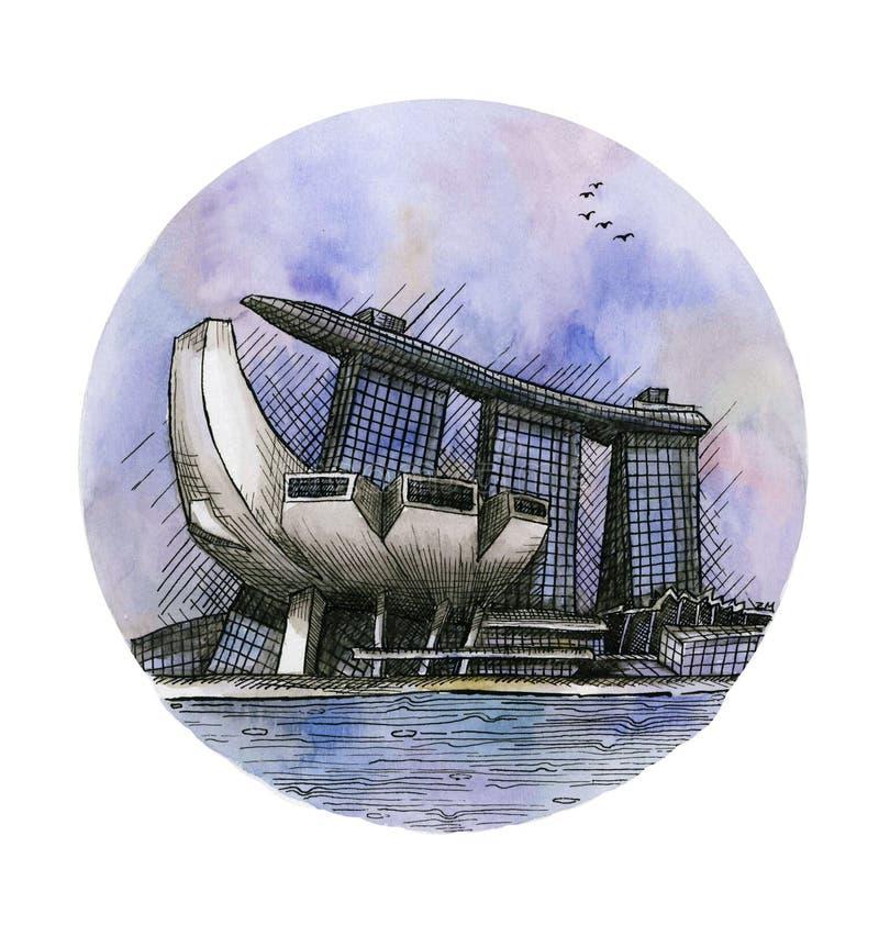La acuarela del dibujo de la mano de Marina Bay Sands Singapore del casino del hotel aislada libre illustration