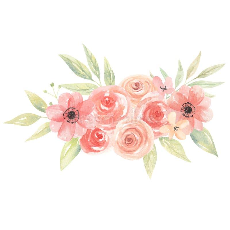 La acuarela del melocotón florece el ramo Coral Painted Arrangement Leaves floral ilustración del vector