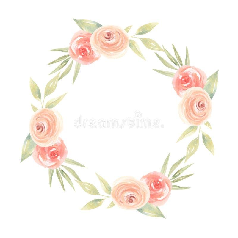 La acuarela del melocotón florece las hojas de Garland Floral Coral Painted Wreath libre illustration
