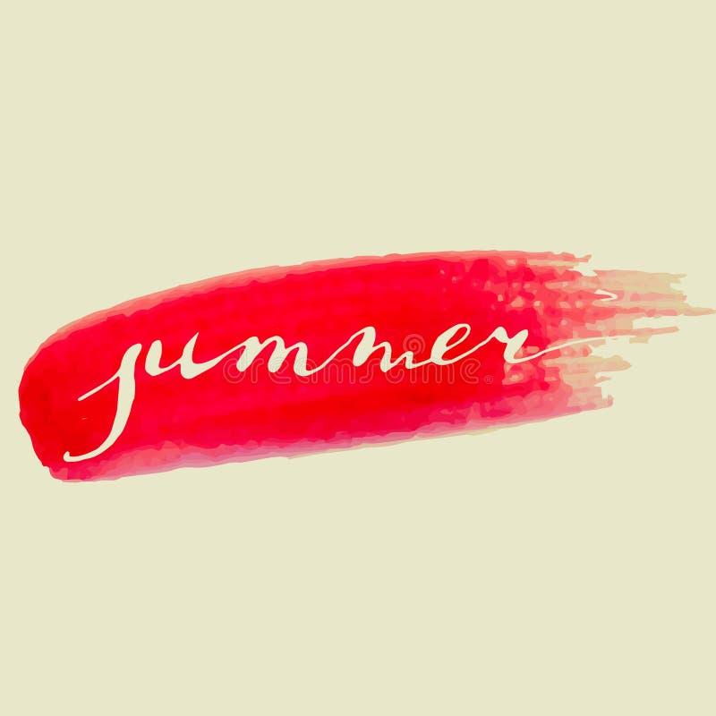 La acuarela del verano de la caligrafía salpica imagenes de archivo