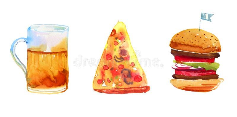 La acuarela dibujada mano de la cerveza, de la pizza y de la hamburguesa fijó para los carteles y las tarjetas libre illustration