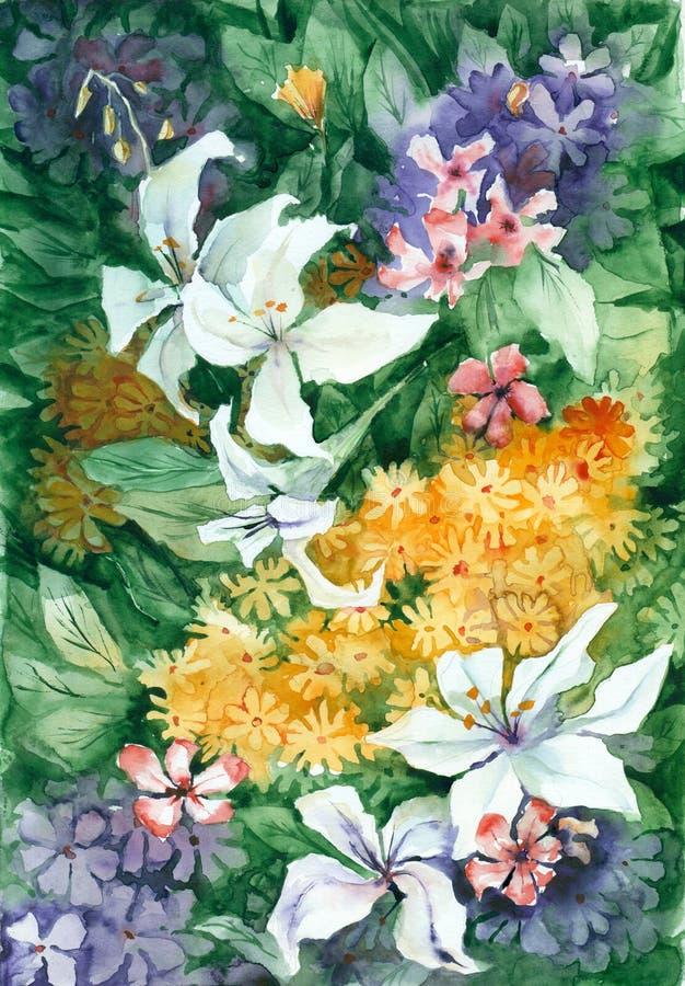 La acuarela florece el fondo libre illustration
