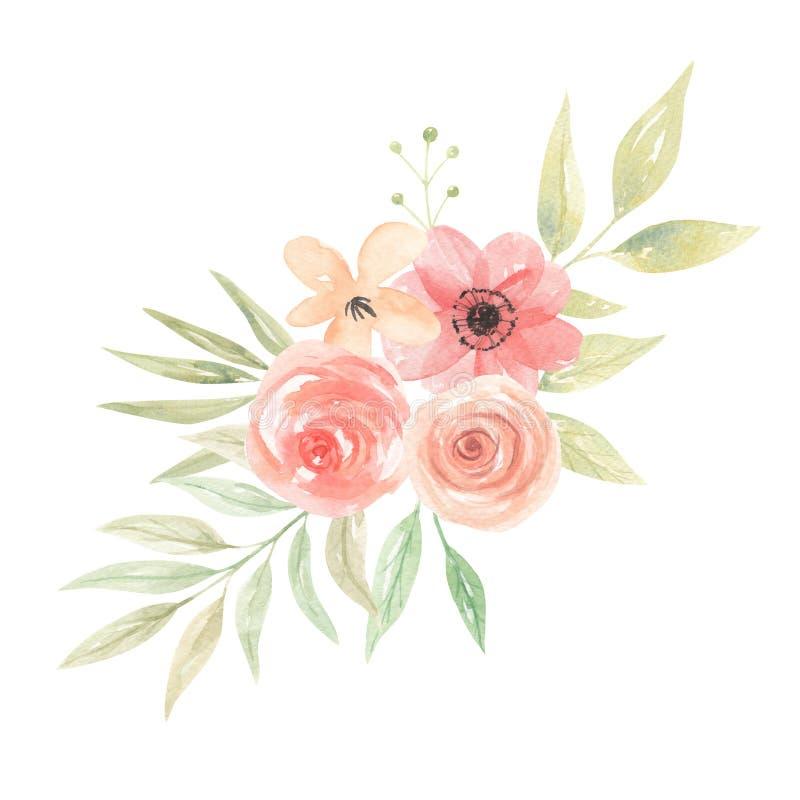 La acuarela florece el melocotón Coral Floral Bouquet Arrangement Leaves libre illustration