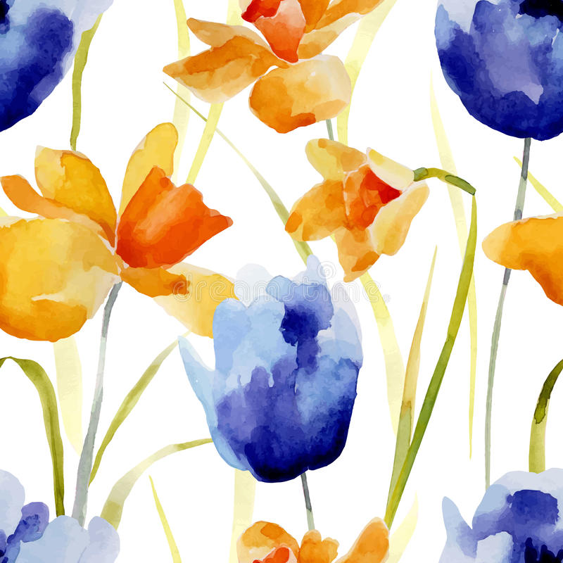 La acuarela florece el modelo inconsútil stock de ilustración