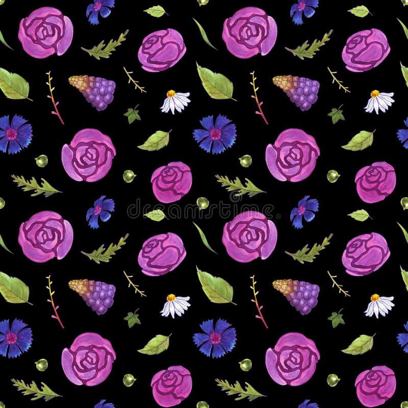 La acuarela florece el modelo inconsútil primavera Flores y hojas Fondo oscuro ilustración del vector