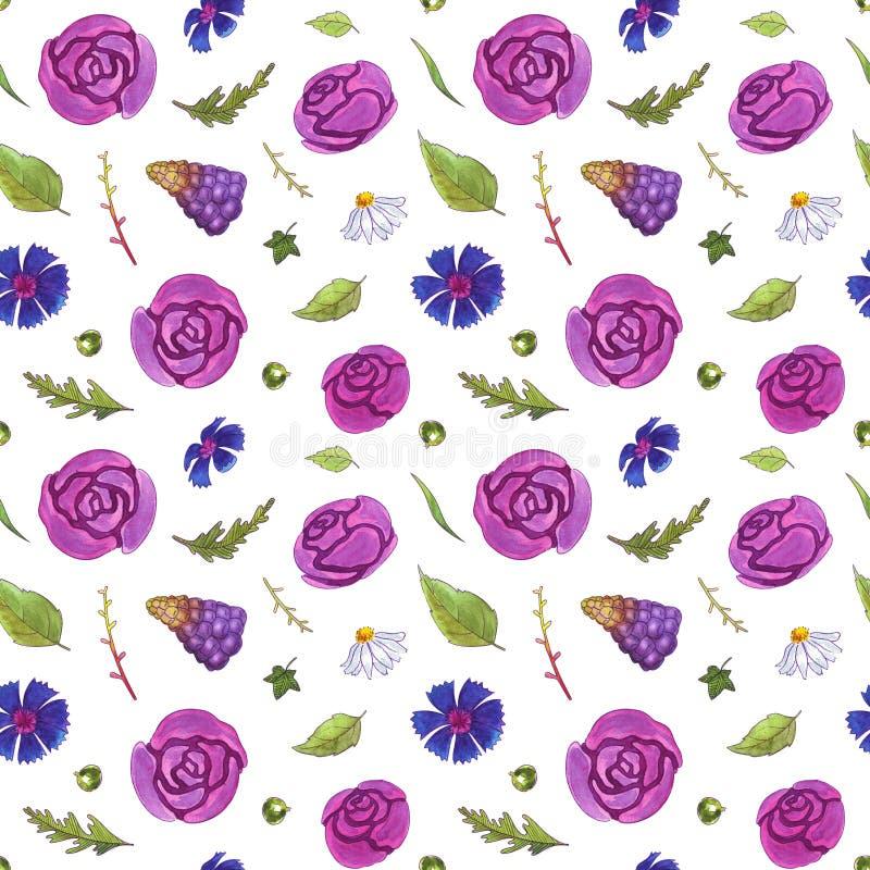 La acuarela florece el modelo inconsútil primavera libre illustration
