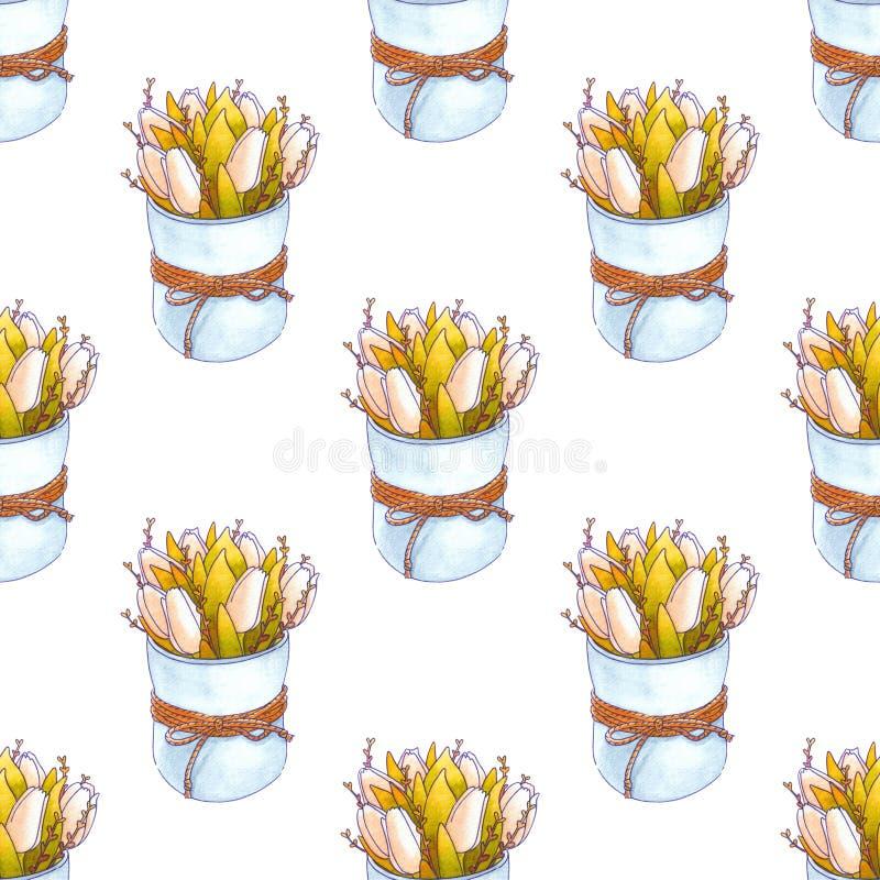 La acuarela florece el modelo inconsútil primavera stock de ilustración