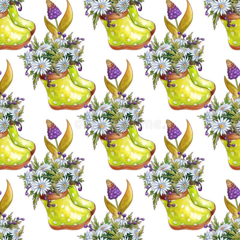 La acuarela florece el modelo incons?til primavera stock de ilustración