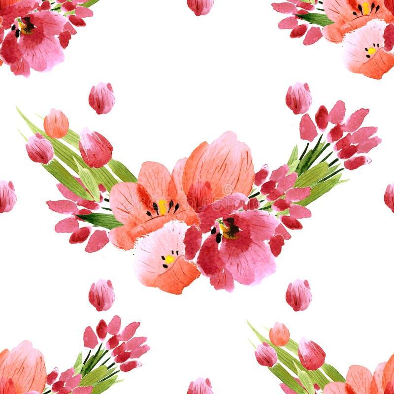 La acuarela florece la colección de las peonías de las rosas stock de ilustración