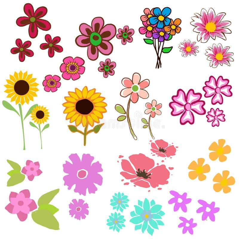 La acuarela florece la colección para diverso diseño ilustración del vector
