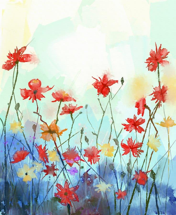 La acuarela florece la pintura Naturaleza floral de la primavera stock de ilustración