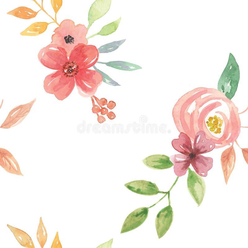 La acuarela florece verano inconsútil del resorte plano del ramo del modelo de las hojas libre illustration
