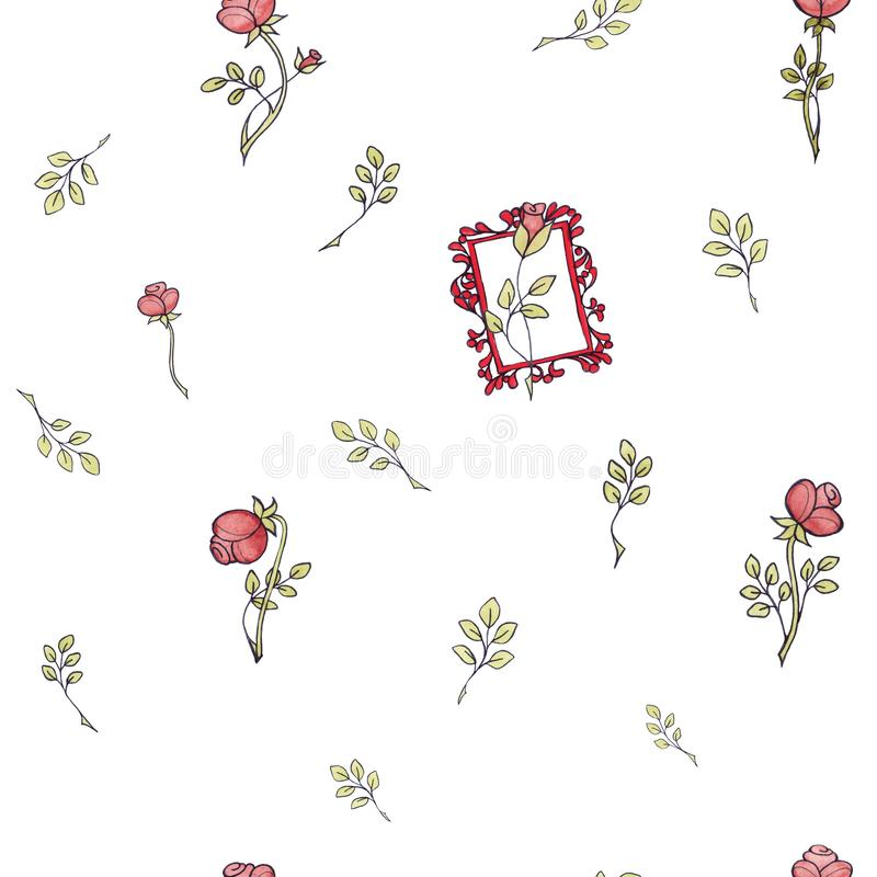 La acuarela inconsútil del modelo subió las flores barrocas con la hoja libre illustration