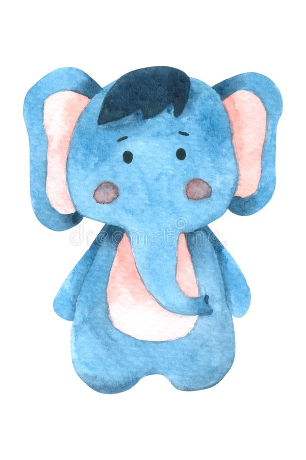 La acuarela linda del elefante aislada en el fondo blanco, carácter dibujado mano para los niños, tarjeta de felicitación, casos  ilustración del vector