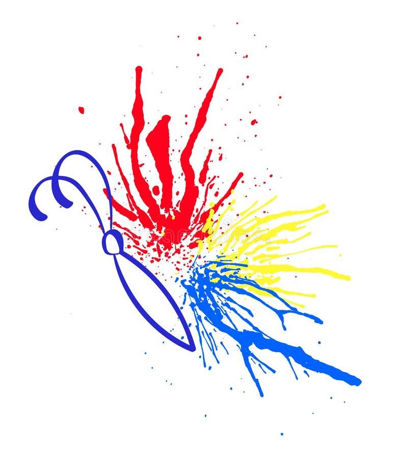 La acuarela multicolora salpica bajo la forma de mariposa Ilustración EPS10 del vector ilustración del vector
