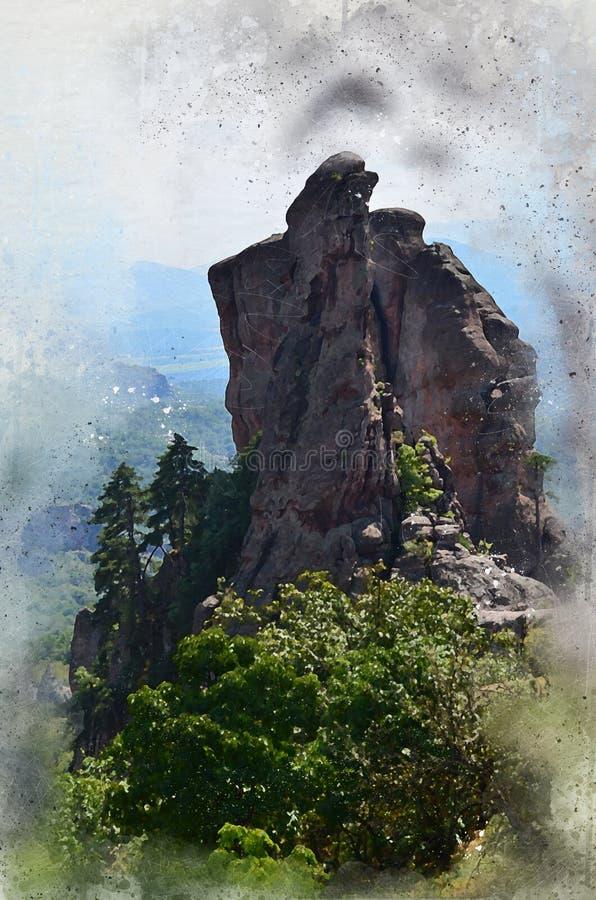 La acuarela pintó la forma y árboles únicos de la roca ilustración del vector