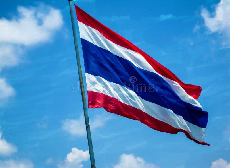 La acuarela pintó la imagen - bandera de Tailandia en el cielo azul con la nube fotos de archivo libres de regalías