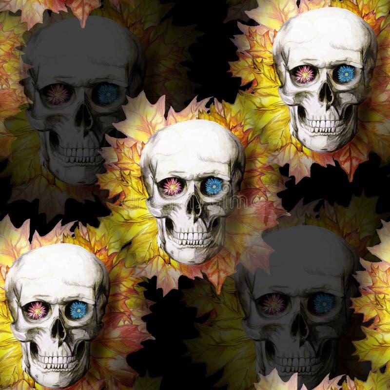 La acuarela que dibuja el cráneo humano del fondo inconsútil para Halloween con amarillo del otoño se va y florece en los zócalos stock de ilustración