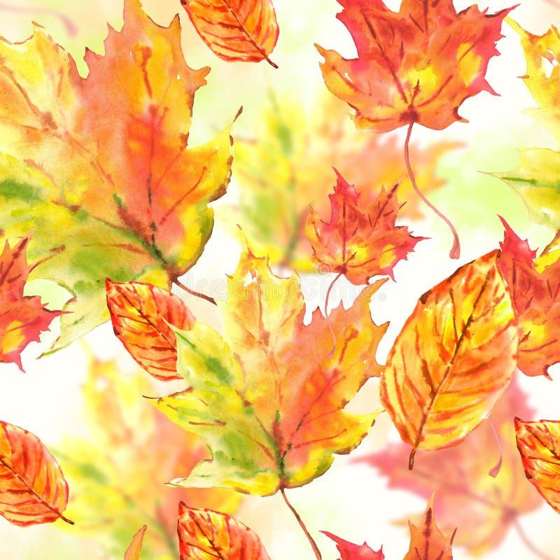 La acuarela sale del fondo inconsútil del otoño ilustración del vector