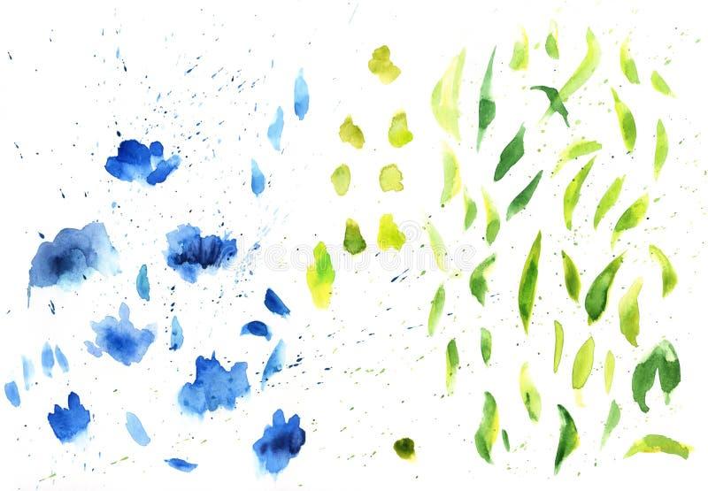 La acuarela salpica el fondo de la textura Dibujo azul de la mano y verde exhausto de las manchas blancas /negras libre illustration
