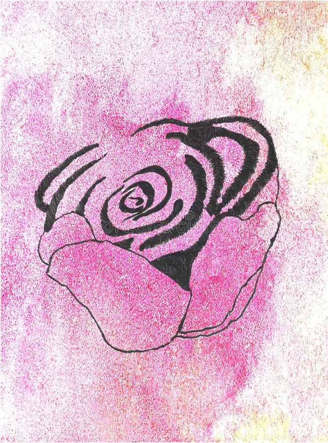 La acuarela subió flora del extracto de la flor del gráfico de color foto de archivo