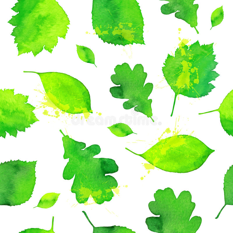 La acuarela verde pintada sale del modelo inconsútil ilustración del vector