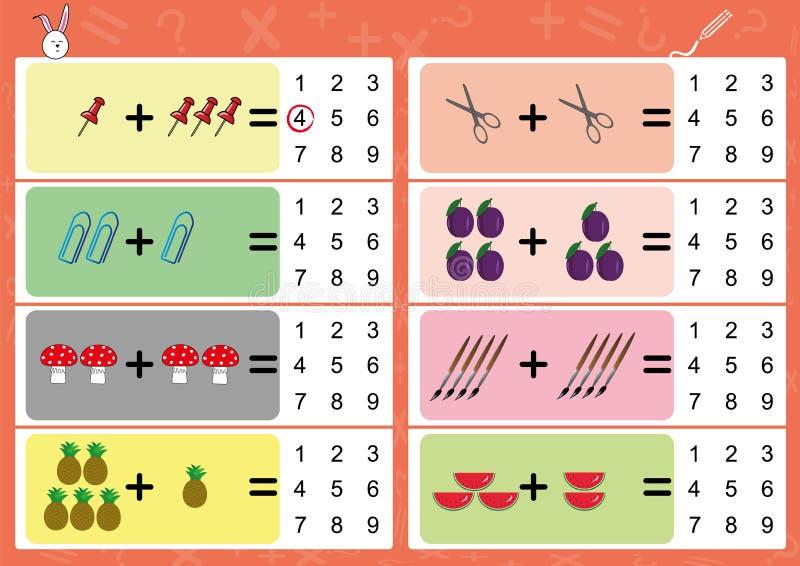 la adición el objeto y escribe la respuesta correcta ilustración del vector