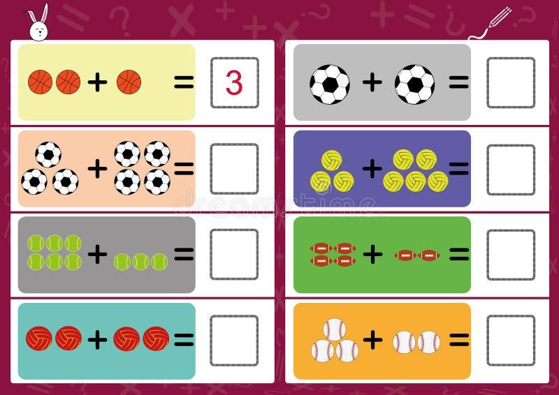 la adición el objeto y escribe la respuesta correcta stock de ilustración