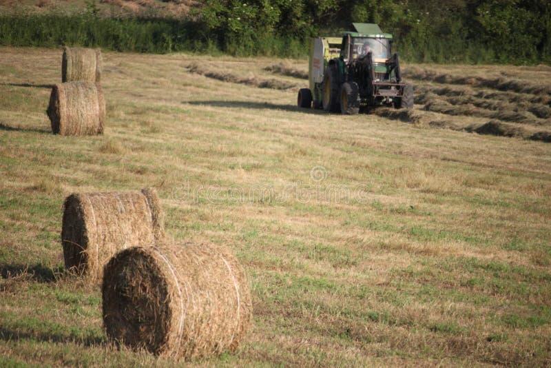 La agricultura trabaja en una máquina segadora verde imagen de archivo libre de regalías