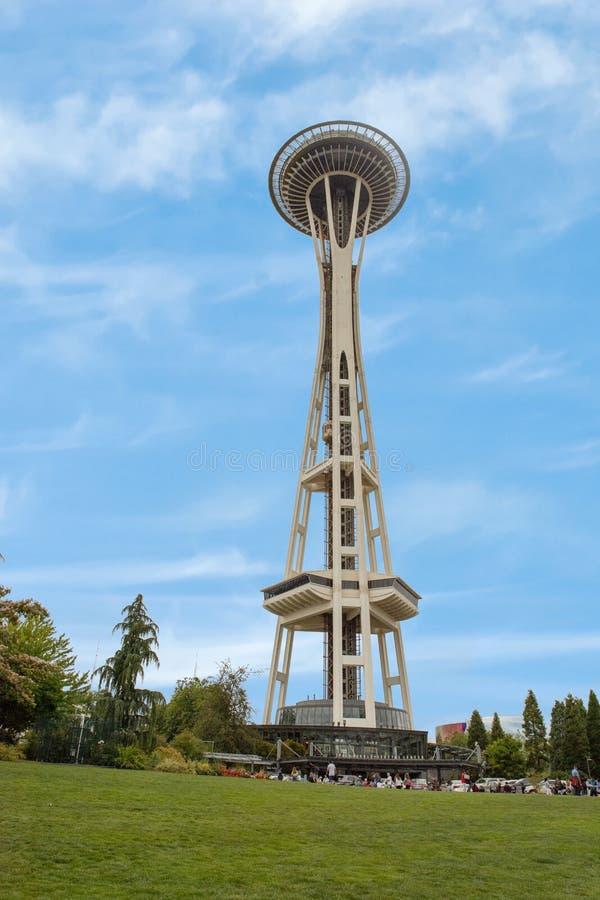 La aguja icónica del espacio en el centro de Seattle fotos de archivo libres de regalías