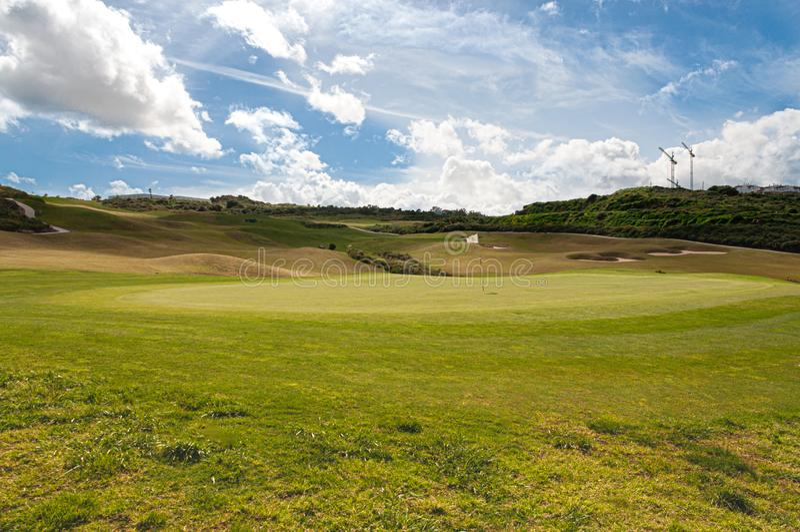 La Alcaidesa高尔夫球和链接在西班牙的南部 库存照片