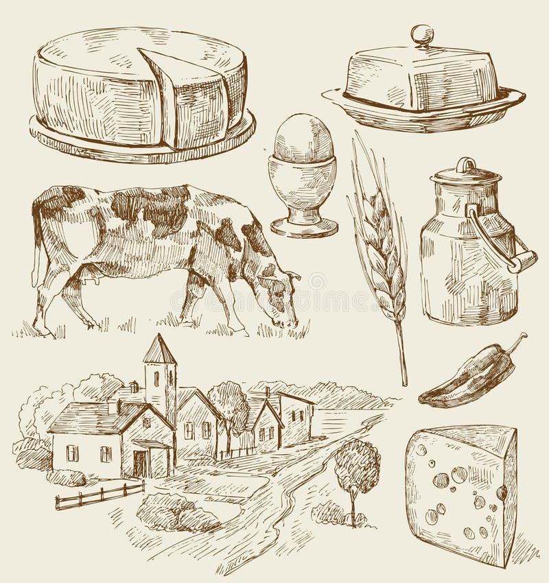 La aldea contiene bosquejo con el alimento libre illustration
