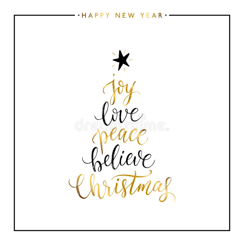 La alegría, amor, paz, cree, texto del oro de la Navidad aislado stock de ilustración