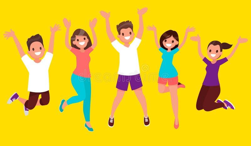 La alegría de la vida La gente feliz salta Ejemplo del vector en un fla stock de ilustración
